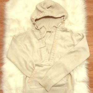 Sweaters - Hooded V neck letter man sweater color Off white